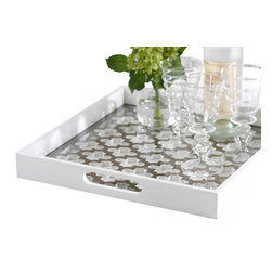 Zodax - Trellis Wooden Serving Tray With Glass Insert by Zodax - Trellis Wooden Serving Tray With Glass Insert by Zodax