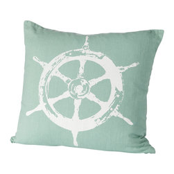 Cricket Radio - Montauk Wheel Pillow, Aqua/White - Style's ahoy when you add this jaunty pillow to your sofa, chair or bench. It's hand-printed using ecofriendly inks on Italian linen, comes in your choice of colors and features a removable down insert for easy cleaning. Steer your decorating in a nautical direction.