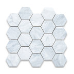 """Stone Center Corp - Carrara Marble Hexagon Mosaic Tile 3 inch Honed - Carrara white marble 3"""" (from point to point) hexagon pieces mounted on a sturdy mesh tile sheet"""