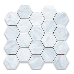 "Stone Center Corp - Carrara Marble Hexagon Mosaic Tile 3 inch Honed - Carrara white marble 3"" (from point to point) hexagon pieces mounted on a sturdy mesh tile sheet"