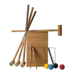 Teak Croquet Set - Every backyard needs a variety of lawn games. This teak croquet set is sure to hold up to hours of playtime over the years.