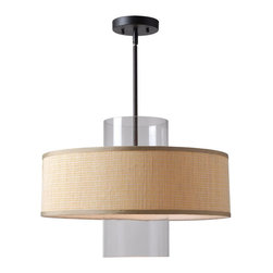 Kenroy Home - Kenroy 93000BAM Annie 1 Light Pendant - A bold harmony of materials combines in a fashionable use of cylindrical glass and drum fabric shades, the Annie Pendants are a fresh and fun update to casual and modern decor spaces. Available in Bamboo or Black Fabric shades.