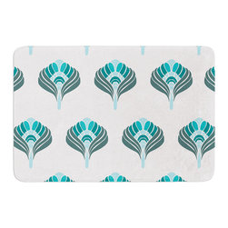 "KESS InHouse - KESS Original ""Peacock"" Memory Foam Bath Mat (24"" x 36"") - These super absorbent bath mats will add comfort and style to your bathroom. These memory foam mats will feel like you are in a spa every time you step out of the shower. Available in two sizes, 17"" x 24"" and 24"" x 36"", with a .5"" thickness and non skid backing, these will fit every style of bathroom. Add comfort like never before in front of your vanity, sink, bathtub, shower or even laundry room. Machine wash cold, gentle cycle, tumble dry low or lay flat to dry. Printed on single side."