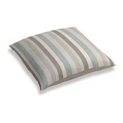 Soft Aqua & Tan Linen Stripe Custom Floor Pillow - A couch overflowing with friends is a great problem to have.  But don't just sit there: grab a Simple Floor Pillow.  Pile em up for maximum snugging or set around the coffee table for a casual dinner party. We love it in this classic linen stripe in beachy tones of sand, aqua and taupe with a slight luxurious sheen.