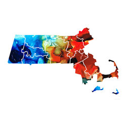 Maps - World and US Maps Large Colorful Unique Wall Art From Original Paintings - Massachusetts - Map Counties By Sharon Cummings. Buy Fine Art Prints Online.