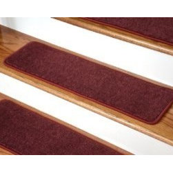 """Dean Flooring Company - Dean Premium New Zealand Wool Carpet Stair Treads - Madison Bordeaux (13) 36""""x9"""" - Dean Premium New Zealand Wool Carpet Stair Treads - Madison Bordeaux (13) 36"""" x 9"""" : Premium Wool Carpet Stair Treads by Dean Flooring Company. Color: Madison Bordeaux Material: 70% New Zealand Wool and 30% Olefin. Face Weight: 56 oz. Edges: Finished (serged) with attractive color matching yarn. Size: Approximately 36"""" x 9"""". Easy to spot clean and vacuum. Helps prevent slips on your hardwood stairs. Great for helping your dog easily navigate your slippery staircase. Reduces noise. Reduces wear and tear on your hardwood stairs. Attractive: adds a fresh new look to your staircase. Easy DIY installation with double sided carpet tape or (not included - sold separately). WOOL is the traditional fiber used to make rugs, and it's no big mystery why. Besides being luxurious to the touch, wool can be dyed to beautiful rich colors, is fire-resistant, stain resistant, non-allergenic and holds up well over time. Also, wool is biodegradable and a renewable resource, making it a green choice as well as an elegant one. Add a touch of warmth and style to your home today with stair treads from Dean Flooring Company!"""