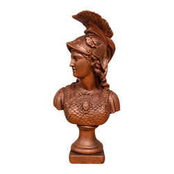 Casa de Arti - Athena Greek Goddess Roman Goddess Minerva Statue Sculpture God Art Bust - Classic bust of Athena, one of the most important goddesses in Greek mythology. In Roman mythology she became identified with the goddess Minerva. Also known as Pallas Athena. Athena sprang full-grown and armored from the forehead of the god Zeus and was his favorite child. He entrusted her with his shield, adorned with the hideous head of Medusa the Gorgon, his buckler, and his principal weapon, the thunderbolt.