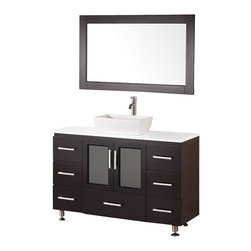 "Design Elements - Design Elements B48-VS Vanity in Espresso - The Stanton 48"" vessel-sink vanity is elegantly constructed of solid hardwood. The white composite stone counter top and rectangular vessel sink design beautifully contrast with the rich features of the espresso cabinetry to bring a crisp and contemporary look to any bathroom. This stylish design includes seven drawers and a soft-closing double-door cabinet, all adorned with satin nickel hardware. Included is a matching framed mirror. The Stanton Bathroom Vanity is designed as a centerpiece to awe and inspire the eye without sacrificing quality, functionality, or durability."