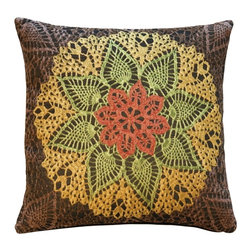 "Pillow Decor Ltd. - Pillow Decor - Crochet Flower 19 x 19 Tapestry Pillow - Calling all hepcats — here's a pillow to satisfy your bohemian style whims. Featuring a bold crocheted floral design, its kaleidoscopic and vintage appeal are totally ""far out."" Created from French tapestry, this unique accent pillow will help you create a cool boho atmosphere that's also decidedly sophisticated."