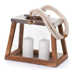 Go Home - Go Home Harper Lantern - Enlighten your home d cor with the subtle design of Harper Lantern. The wooden stand topped with iron platform will offer your home a great mix and match of old and new. It is complemented with rope handles to add uniqueness to your urban home d cor. This country chic candle holder will create a warm aura in your home.