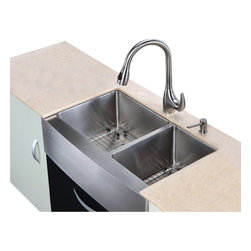 Kraus - 33 in. Farmhouse Double Sink and Pull out Faucet - Add an elegant touch to your kitchen with unique Kraus kitchen combo