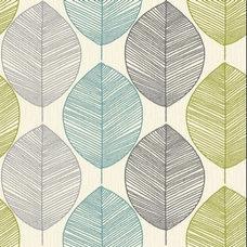 Wallpaper Retro Leaf Teal/Green