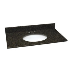 Design House 25W x 22D in. Granite Single Sink Vanity Top - The quality construction of the Design House 25W x 22D in. Granite Single Sink Vanity Top makes it a visually rich piece that's sure to accentuate your surroundings in a profound way. Here is a high-quality vanity top that's available in a wide range of distinct colors to bring out the best in your decor. Whether you're remodeling or starting from scratch this easy-to-install vanity top is a must-have for the homeowner who wants gorgeous interior design and superior functionality. The spacious design provides ample counter space for toiletries towels and more three pre-drilled holes make installing a faucet easy squared edges evoke a more modern look while catching excess water and there's even a matching granite back splash! A back splash gives your bathroom a more finished look and serves as a terrific barrier between your wall and the vanity to prevent any mold and water damage. Lastly an oval bowl at the heart of this top is crafted from vitreous glass that's well known for having a uniquely grainy surface and offering durability that can be depended upon to never chip or wear. The Single Sink Vanity Top is backed by a 1-year limited warranty that protects against defects in materials and workmanship. About Design House With Design House you can design with your whole house in mind. Design House's range of home decor products boasts several categorizations that easily coordinate every room in your home. WholeHouse encompasses complete home packages that coordinate finish and style across major product categories and TruMatch ensures matching finishes across all product categories. Design House's products meet rigorous industry standards too so you can feel as safe as you do stylish at home.