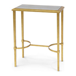 Kathy Kuo Home - Oxford Hollywood Regency Faux Shagreen Gold Leaf Side Table - Industrial Loft gets a little Hollywood Regency facelift with a taupe faux shagreen tabletop. The shimmering gold leaf frame has two curved supports, contrasting with the rectangular base. The warm, monochromatic palette creates a modern feel in this classic cocktail table.