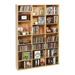 """Atlantic - Multimedia Tower - 756 CD or 360 DVD/Blu-ray Disc capacity. Adjustable & removable shelves for organization. Durable frame with high capacity for maximum storage. Wide base for stability. Maple. Dim: 60.5""""H x 7.25""""W x 37.25""""DThe ultimate high capacity multimedia cabinet for all of your media storage needs.  Fully adjustable shelving allows you to customize to create any storage configuration.  Wide base provides stability for your collection."""