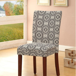 None - Parsons Black/ White Dining Chairs (Set of 2) - This set of two Parsons dining chairs offers transitional styling that works in most homes. These chairs also feature a black and white medallion Suzani fabric upholstry, and a mid-tone brown solid wood frame.