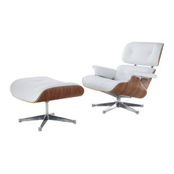 Eames Lounge Chair & Ottoman Style, White Italian Leather & Walnut (Chrome Base) - Our Eames-Style Lounge Chair seat cushions are perfectly contoured. The pitch is a 15% recline and the high back provides the utmost in comfortable seating. Our signature replica of the original Eames Lounge Chair comes complete with all the original features. From the leather and die cast aluminum base to the Kiln Dried Polyurethane real wooden shell, no detail has been overlooked. You can purchase your very own piece of history.