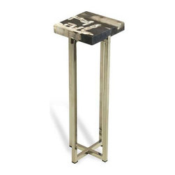 Interlude Home - Interlude Home Argo Square Drink Table - This Interlude Home Square Drink Table is crafted from Petrified Wood and Steel and comes in a Natural Polished Finish.  Overall size is:  7 in. W  x  7 in. D x 21 in. H.