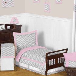 Sweet Jojo Designs - Sweet Jojo Designs Girl 5-piece Chevron Zig Zag Toddler Comforter Set - This Sweet Jojo Designs 5-piece toddler bedding collection will add instant zest to your child's room. This stylish girl toddler bedding ensemble boasts a modern gray and white Zig Zag print combined with pink and white solid cottons.