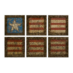 Glory American Flag Wall Decor- Set of 6 - Reminiscent of tin ceiling tiles, this set of six aged frames encase stamped metal featuring antiqued finishes and a basic rendering of Old Glory.