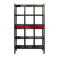 Golden Lotus - Black & Red Color Solid Wood 3 Drawers Display Cabinet / Book Shelf - This is a simple but elegant design display cabinet. It is made of solid elm wood and has classic black and red color.