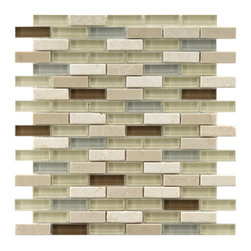 Somertile - Somertile Reflections Subway York Stone and Glass Mosaic Tiles (Pack of 10) - Add charming personality to your kitchen or bathroom with this set of stone-and-glass mosaic tiles. The smooth, reflective glass pieces feature subtle variations in tone, while the natural slate stones feature hues of tan and brown.