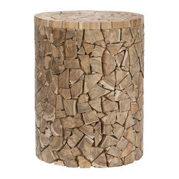 Home Decorators Collection - Canyon Garden Stool - This wood garden stool has great texture. And it's made from reclaimed wood — I love that!