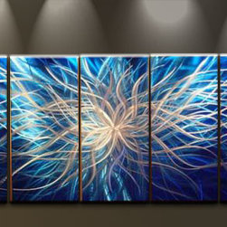 Matthew's Art Gallery - Metal Wall Art Abstract Modern Contemporary Sculpture Blue White Lightning - Name: Blue White Lightning