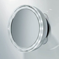 Modo Bath - Smile Illuminated Magnifying Makeup Mirror With Suction Cup Mounting - Smile 701 Illuminated Magnifying Makeup Mirror 3x Magnification, Illuminated Magnifying Makeup Mirror in Chrome Battery Operated, 3x AA Batteries 18 LED Lights Daylight White Light, 1.8W Suction Cup Wall-Mounted, Made in Germany