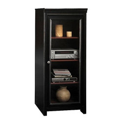 Bush - Audio Cabinet - Stanford - A black finish can make any furniture item appear more intense and elegant, and this audio systems cabinet is no exception.  Enjoy the organizational aspects as well as the pure aesthetically pleasing details of this one of a kind audio cabinet, a perfect accent to almost any room!  The Glass Door Wooden Audio Cabinet with Black Finish is ideal when introducing contemporary audio components into a traditional room setting.  The cabinet features three interior shelves (two adjustable) and a framed tempered glass door to protect sensitive components from dust.  A framed tempered glass door keeps dust out while one fixed and two adjustable shelves within allow a wide range of setup flexibility. Dimensions:*60.472 H x 25.039 W x 19.567 D in. Framed tempered glass door protects audio components from dust. Two adjustable shelves for storage flexibilityOne fixed shelf for stability. Rear access for wire management and concealment. Decorative dental molding. 25.039 in. W x 19.567 in. D x 60.472 in. H