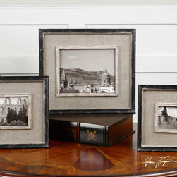 Kalidas, Photo Frames, S/3 - Distressed black frames with gray undertones and burlap liner. Holds photo Sizes: 4×6, 5×7 & 8×10.