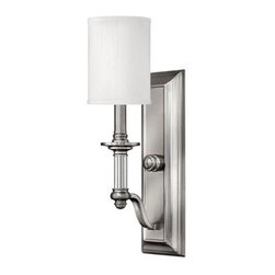 Hinkley Lighting - Wall Sconce - Sussex offers traditional charm with an edge of modern luxury. The Brushed Nickel finish white fabric hard back shade and clear glass column and candles adds to its sophistication.