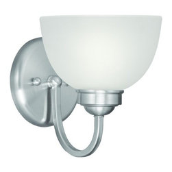 """Livex Lighting - Livex Lighting 4231 1 Light 100 Watt 6.5"""" Wide Bathroom Fixture with Satin Glass - 1 Light 100 Watt 6.5"""" Wide Bathroom Fixture with Satin Glass from the Somerset CollectionWith one light this fixture is sure to provide an ample amount of light to a bathroom setting. The satin glass shades and curved arms work together to achieve a classic look and feel.Features:"""
