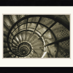 Amanti Art - Spiral Staircase in Arc de Triomphe Framed Print by Christian Peacock - The spiral is a symbol that is recognized by a variety of global cultures, associated with expansion of mind and spirit. This popular form occurs frequently in nature as well as architecture and art, photographer Christian Peacock merges both in this contemplative study of a spiral staircase.
