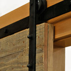 Real Sliding Hardware - Hammered Barn Door Hardware Kit - Real Sliding Hardware's Hammered style barn door hardware features hand forged hangers with peened edges.  Hammered edges on hangers only, not on track. This rustic sliding hardware is available in unfinished steel, as well as a variety of durable, powder-coated finishes including black and oil-rubbed bronze. Proudly made in USA by Bill, our Blacksmith. Kit includes everything needed to hang one door. For biparting doors, simply choose the appropriate kit size for each door and order quantity two.
