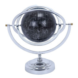 Benzara - Metal Globe with White Mapping on Matte Black Background - Now you can avail yourself the opportunity to express your personality through your home decor with the use of this Aluminum Globe with White Mapping on Matte Black Background. This intuitive aluminum globe features a creative design that makes it look stunningly attractive. It can be used to complement your living room interiors or your study. This piece has an aluminum globe in the middle that is covered in matte black. This black color is used as a background to print the world map in white lines. The map also features accurate longitudes, latitudes and the equatorial line that makes it authentic in terms of usability. The innovative design that involves three metallic circles with a common axis that can rotate over the entire surface area of the globe gives it a futuristic look. The metal base gives this piece a steady posture that holds the globe in a horizontal fashion..