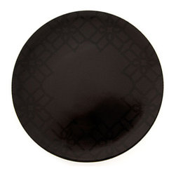 B by Brandie - Whitney Charger - The Whitney Collection is defined by refined lines in a regal black on black scheme with gold trim. This dramatic charger helps set the stage--and the table--for a sophisticated statement.