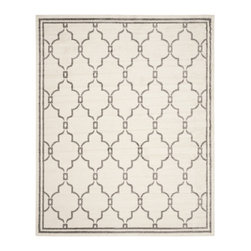Safavieh - Safavieh Amherst Indoor/ Outdoor Ivory/ Grey Rug (8' x 10') - Perfect for any backyard, patio, deck or along the pool, this rug is great for outdoor use as well as any indoor use that requires an easy to maintain rug. Safavieh's Amherst collection was created for today's indoor/outdoor lifestyle.