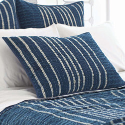 Pine Cone Hill - PCH Resist Stripe Indigo Pillow Sham - Inspired by an artistic block print, the Resist Stripe pillow sham lends a touch of global glamour. This quilted bedding boasts the chic yet casual style in indigo, navy and white. Available in standard and euro; 100% cotton; Navy blue cording; Tie closure; Designed by Pine Cone Hill, an Annie Selke company; Machine wash