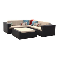 Great Deal Furniture - Oasis Outdoor 4pc Black Wicker Lounge Sofa Sectional - The Oasis Outdoor Sectional creates a great entertaining area with comfortable seating for plenty of adults. This set will create a luxurious lounging area in your backyard, patio or around your pool deck, for hosting guests or parties. With its durable black PE wicker and powder coated aluminum frame, this set can withstand the weather and be enjoyed for years to come.