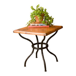 Mathews & Company - Woodland End Table - Perfect for a resting place for your cup of coffee, or a favorite photo, the Woodland End Table is square in shape and could fit in almost any nook. Made to coordinate with the other pieces in the Woodland Collection, this piece looks wonderful as part of a set, and also makes a stunning statement on its own. The copper top is standard, but the base is available in the signature four iron finishes. Pictured in Copper top and Black finish.