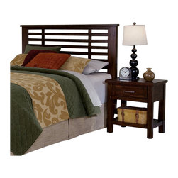 Home Styles - Home Styles Cabin Creek Headboard and Night Stand in Chestnut Finish-King-Califo - Home Styles - Headboards - 54106015 - Our Cabin Creek collection conveys a reclaimed wood vintage feel. Each piece is physically distressed by hand providing a unique one of a kind look. The Cabin Creek Headboard and Night Stand by Home Styles are constructed of mahogany solids and veneers in a multi-step chestnut finish.
