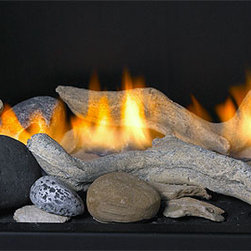 Custom Fireplaces - a transitional alternative to traditional gas log sets