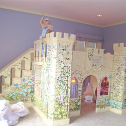 Girls Princess Castle Bed - Custom made girls princess bed with slide and staircase.
