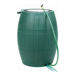 Achla - 75 Gallon Rain Barrel - Features safety grid and removable debris screen. Built-in 4 foot hose with thumb valve stores neatly in slot at top of the barrel. Overflow hose diverts excess water away from your house. Made of durable, UV-stable polyethylene. Link two