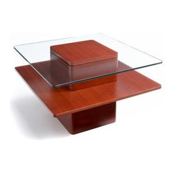 Jesper Pure Home Square Cherry Wood and Glass End Table - The modern appeal and contrasting materials of the Jesper Pure Home Square Cherry Wood and Glass End Table make it a gorgeous contemporary classic. The rosy finish of the stained cherry wood beautifully sets off the cool tempered glass top for a table that's sure to be an instant focal point.About Jesper OfficeJesper Office, originally based in Denmark, specializes in making modular office furniture for homes and small businesses, as well as a complementary line of modular library and home entertainment furniture. Now operating with a U.S. warehouse in Branchburg, N.J., Jesper is committed to making high-quality, flexible, beautiful pieces with respect toward the environment. Furniture is made with contract-quality chipboard composed of pressed wood shavings and wood veneer, a resource-effective and earth-friendly product.