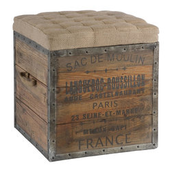 Aidan Gray - Aidan Gray Sac De Moulin Wooden Cube - This old wood crate look has a tufted burlap removable top and woven handle. The crate is lined in rustic distressed metal and nailed into place.
