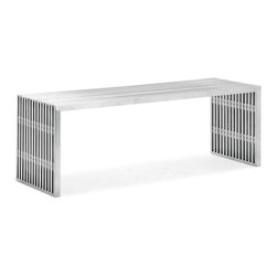 Zuo Modern - Zuo Modern Novel Double Bench Stainless Steel - Like support beams in a high rise, the Novel series is strong and sturdy. Made from 100% stainless steel.