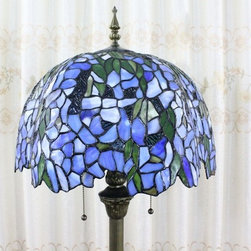 Blue Wistaria Stained Glass Tiffany Style Floor Lamp - Blue Wistaria Stained Glass Tiffany Style Floor Lamp