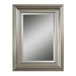 """Uttermost - Mario Silver Leaf Rectangular Mirror - This solid wood frame features a silver leaf finish. Mirror has a generous 1 1/4 inch bevel. Frame Dimensions: 30.875""""W X 40.875""""H X 2.375""""D; Mirror Dimensions: 20""""W X 30""""H; Finish: Silver Leaf; Material: Wood; Beveled: Yes; Shape: Rectangular; Weight: 22 lbs; Included: Brackets, Ready to Hang Vertically or Horizontally; Shipping: Free Shipping via UPS 7 - 10 Business Days"""